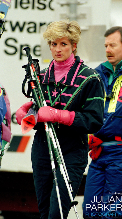 The Princess of Wales, Sking in Lech, Austria, during an annual ski holiday, with her sons Prince William, and Prince Harry