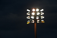 General view of the stadium lights shining over the Bradenton Marauders game against the Charlotte Stone Crabs on April 20, 2015 at McKechnie Field in Bradenton, Florida.  Charlotte defeated Bradenton 6-2.  (Mike Janes/Four Seam Images)
