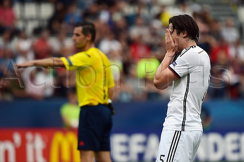 27.06.2015. Andruv Stadium, Olomouc, Czech Republic. U21 European championships, semi-final. Portugal versus Germany.  Nico Schulz (Germany) frustrated after the game which they lost 5-0