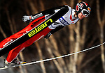 Simon Amman of Switzerland soars through the air during the FIS World Cup Ski Jumping in Sapporo, northern Japan in February, 2008.