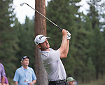 John Merrick hits a tee shot during the Barracuda Championship PGA golf tournament at Montrêux Golf and Country Club in Reno, Nevada on Friday, July 26, 2019.