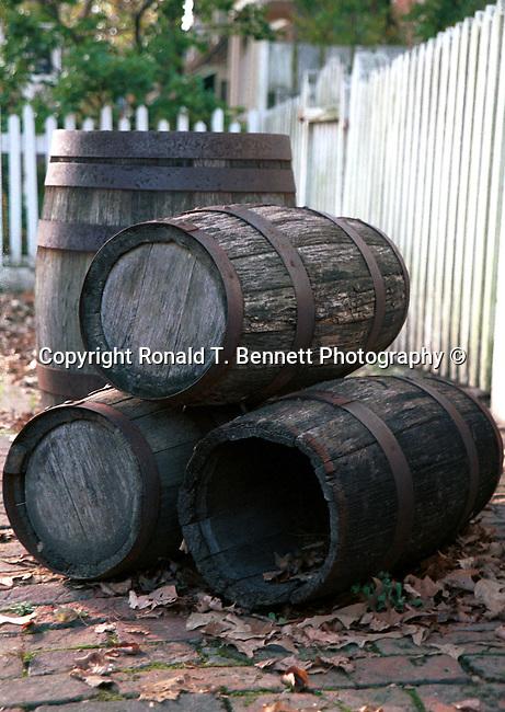 Three whisky barrels along picket fence, Colonial Williamsburg, Virginia,  Barrel, barrels, Three whisky barrels with white picket fence, white picket fence, fence, picket fence, whisky barrels, picket fence, barrel, barrels, Fine Art Photography by Ron Bennett, Fine Art, Fine Art photography, Art Photography, Copyright RonBennettPhotography.com ©
