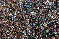 Large numbers of supporters of the Iranian President Mahmoud Ahmadinejad gather in the city of Ardabil to listen to one of his trademark populist speeches.
