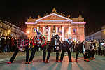 """BRUSSELS - BELGIUM -11 December 2018 -- Christmas market in Brussels features a specialty: the Finnish Village supported by the Regional Council of Kainuu. -- The men group """"Äijät"""" dancing to a song of the Village People. -- PHOTO: Juha ROININEN / EUP-IMAGES"""