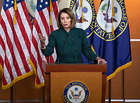 Speaker of the United States House of Representatives Nancy Pelosi (Democrat of California) conducts her weekly press conference in the US Capitol in Washington, DC on Thursday, January 10, 2019.  The Speaker took questions on Democratic legislative priorities and yesterday's meeting with US President Donald J. Trump at the White House. Photo Credit: Ron Sachs/CNP/AdMedia
