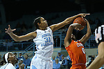 03 January 2016: North Carolina's Erika Johnson (31) blocks a shot by Clemson's Nelly Perry (0). The University of North Carolina Tar Heels hosted the Clemson University Tigers at Carmichael Arena in Chapel Hill, North Carolina in a 2015-16 NCAA Division I Women's Basketball game. UNC won the game 72-56.
