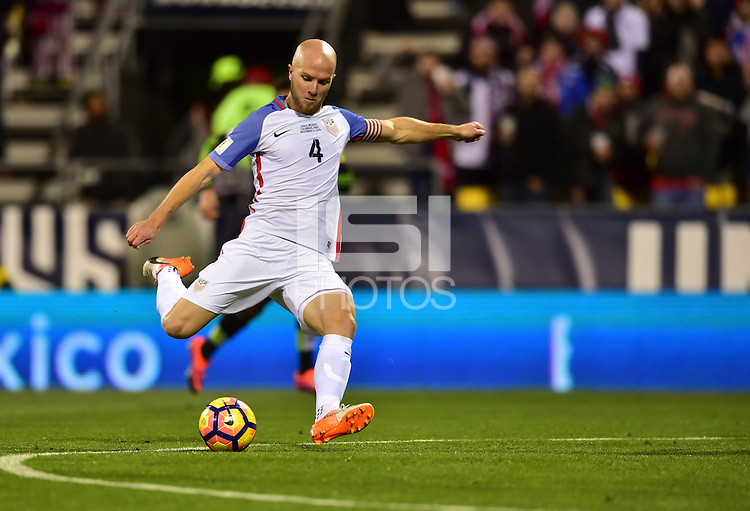 Columbus, OH - November 11, 2016: The U.S. Men's National team and Mexico are even 1-1 in second half play during their Hexagonal World Cup Qualifier match at MAPFRE Stadium.