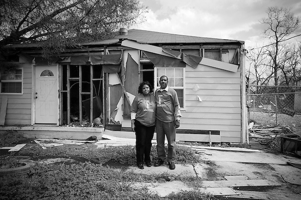 Sandra Sweetwyne and Lionel Coleman of 1233 Jourdan Avenue in the lower 9th Ward have returned from Georgia to see about their home of 3 years. They plan to return and are working with the community advocacy group ACORN to salvage their home and stop the federal bulldozers that are threatened to demolish the entire area.