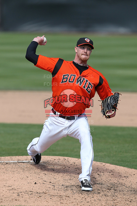 Bowie BaySox pitcher Pat Egan #32 delivers a pitch during a game against the Harrisburg Senators at Prince George's Stadium on April 8, 2012 in Bowie, Maryland.  Harrisburg defeated Bowie 5-2.  (Mike Janes/Four Seam Images)