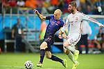 (L to R) <br /> Arjen Robben (NED), <br /> Sergio Ramos (ESP), <br /> JUNE 13, 2014 - Football /Soccer : <br /> 2014 FIFA World Cup Brazil <br /> Group Match -Group B- <br /> between Spain 1-5 Netherlands <br /> at Arena Fonte Nova, Salvador, Brazil. <br /> (Photo by YUTAKA/AFLO SPORT) [1040]