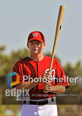 19 February 2011: Washington Nationals' hitting coach Rick Eckstein instructs batting drills during Spring Training at the Carl Barger Baseball Complex in Viera, Florida. Rick donated one of his kidneys to his older brother, Ken, during the off-season after learning Ken was in need of a transplant to save his life. Mandatory Credit: Ed Wolfstein Photo