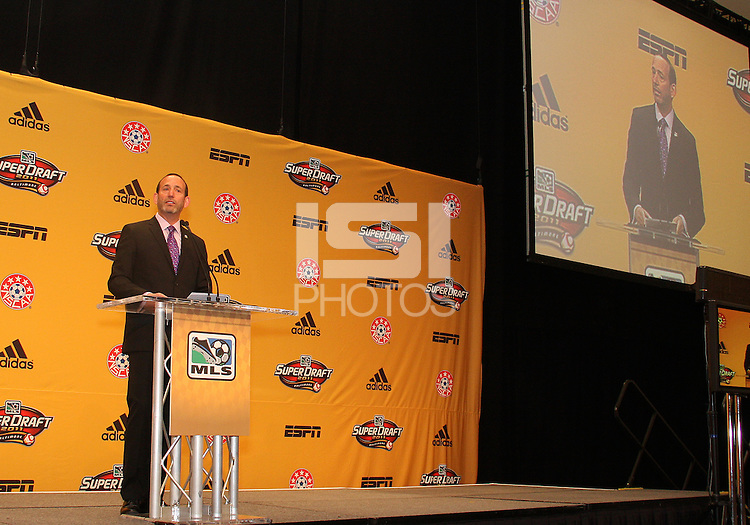 Commissioner Don Garber at the 2011 MLS Superdraft, in Baltimore, Maryland on January 13, 2010.