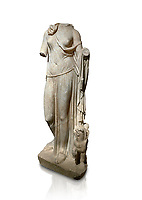 Roman statue of Nemesis. Marble. Perge. 2nd century AD. Inv no; . Antalya Archaeology Museum; Turkey. Against a white background.