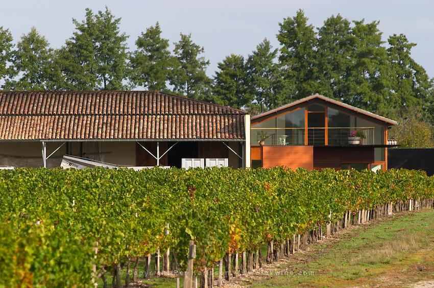 Vineyard. Winery building. Chateau Paloumey, Haut Medoc, Bordeaux, France.
