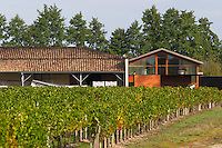 Vineyard. Winery building. Chateau Paloumey, Haut Medoc, Bordeaux, France.