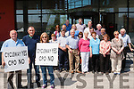 Landowners along the route of the South Kerry Greenway who voiced their concerns over the use of CPO to get the land for the project outside a meeting at Kerry County Council offices in Killorglin last Friday. <br /> L-R Christy McDonnell, Denis O'Connor and Carmel Moran long with other landowners who are anti the CPO process.