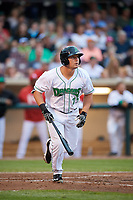 Dayton Dragons designated hitter James Vasquez (25) runs to first base during a game against the Cedar Rapids Kernels on May 10, 2017 at Fifth Third Field in Dayton, Ohio.  Cedar Rapids defeated Dayton 6-5 in ten innings.  (Mike Janes/Four Seam Images)