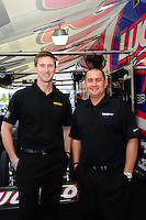 Jan. 17, 2012; Jupiter, FL, USA: NHRA top fuel dragster driver Morgan Lucas (left) with teammate Brandon Bernstein during testing at the PRO Winter Warmup at Palm Beach International Raceway. Mandatory Credit: Mark J. Rebilas-