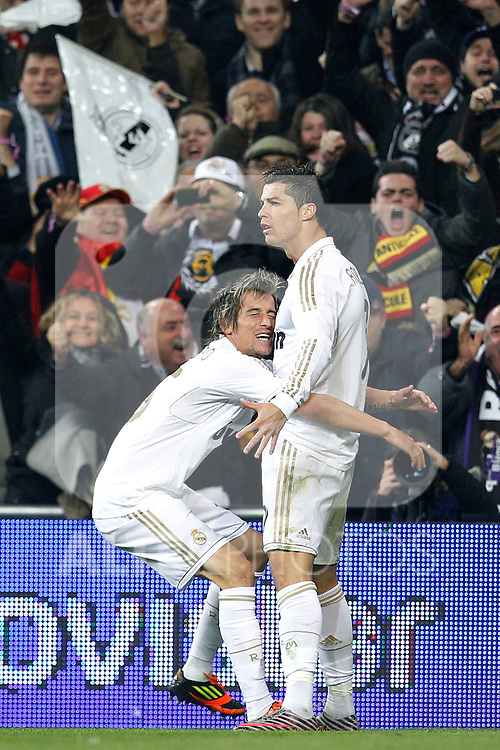 Real Madrid's Cristiano Ronaldo goal during spanish King's Cup on January 18th 2012...Photo: Cesar Cebolla / ALFAQUI
