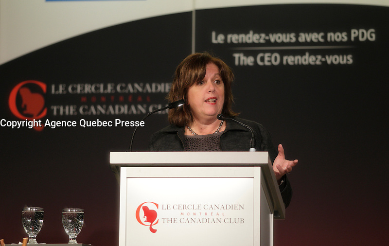 Sylvie Vachon, President &amp; CEO of the Montreal Port Authority, deliver a speech to the Canadian Club of Montreal,Monday, February 15, 2016.<br /> <br /> PHOTO : Pierre Roussel - Agence Quebec Presse