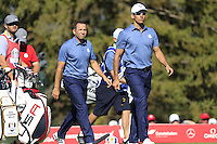 Sergio Garcia and Raffa Cabrera-Bello (Team Europe) on the 8th during the Friday afternoon Fourball at the Ryder Cup, Hazeltine national Golf Club, Chaska, Minnesota, USA.  30/09/2016<br /> Picture: Golffile | Fran Caffrey<br /> <br /> <br /> All photo usage must carry mandatory copyright credit (&copy; Golffile | Fran Caffrey)