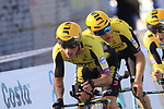 Team Jumbo-Visma led by Primoz Roglic (SLO) and Steven Kruijswijk (NED) in action during Stage 1 of La Vuelta 2019, a team time trial running 13.4km from Salinas de Torrevieja to Torrevieja, Spain. 24th August 2019.<br /> Picture: Eoin Clarke | Cyclefile<br /> <br /> All photos usage must carry mandatory copyright credit (© Cyclefile | Eoin Clarke)