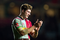 Dino Lamb of Harlequins acknowledges supporters after the match. Aviva Premiership match, between Harlequins and Saracens on December 3, 2017 at the Twickenham Stoop in London, England. Photo by: Patrick Khachfe / JMP