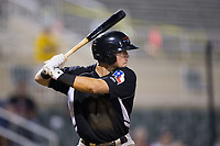 Blaine Prescott (25) of the Hickory Crawdads at bat against the Kannapolis Intimidators in game two of a double-header at Kannapolis Intimidators Stadium on May 19, 2017 in Kannapolis, North Carolina.  The Intimidators defeated the Crawdads 9-1.  (Brian Westerholt/Four Seam Images)