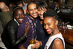 New York, NY - October 28, 2014:  Harlem's The Cecil's Pastry Chef Mame Sau, Executive Chef JJ Johnson and Sous Chef Tiffany Minter, along with a colleague at an afterparty for the International Chefs Congress, hosted by StarChefs.<br /> <br /> CREDIT: Clay Williams for StarChefs.<br /> <br /> &copy; Clay Williams / claywilliamsphoto.com