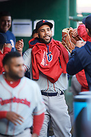 Boston Red Sox starting pitcher David Price (17) fist bumps teammates before a game with the Pawtucket Red Sox while on a rehab assignment during a game against the Buffalo Bisons on May 19, 2017 at Coca-Cola Field in Buffalo, New York.  Buffalo defeated Pawtucket 7-5 in thirteen innings.  (Mike Janes/Four Seam Images)