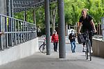 07.07.2020, Trainingsgelaende am wohninvest WESERSTADION,, Bremen, GER, 1.FBL, Werder Bremen - der Tag nach Heidenheim, im Bild<br /> <br /> <br /> Laura Kersting (Physiotherapeutin SV Werder Bremen) kommt mit dem RAD<br /> <br /> <br /> Foto © nordphoto / Kokenge