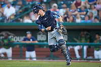 West Michigan Whitecaps catcher Cooper Johnson (37) follows through on a throw to second base during the game against the Fort Wayne TinCaps at Parkview Field on August 5, 2019 in Fort Wayne, Indiana. The TinCaps defeated the Whitecaps 9-3. (Brian Westerholt/Four Seam Images)