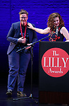 Hannah Gadsby and Julia Jordan on stage during the 9th Annual LILLY Awards at the Minetta Lane Theatre on May 21,2018 in New York City.