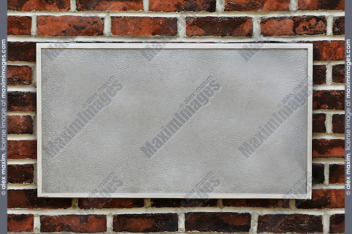 Metal sign on brick wall background