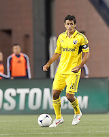 Columbus Crew midfielder Milovan Mirosevic (10) looks to pass. In a Major League Soccer (MLS) match, the New England Revolution tied the Columbus Crew, 0-0, at Gillette Stadium on June 16, 2012.