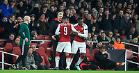 Danny Welbeck of Arsenal replaces Alexandre Lacazette of Arsenal during the UEFA Europa League QF 1st leg match between Arsenal and CSKA Moscow  at the Emirates Stadium, London, England on 5 April 2018. Photo by Andrew Aleksiejczuk / PRiME Media Images.