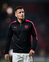 Mathieu Debuchy of Arsenal ahead of the UEFA Europa League group stage match between Arsenal and FC Red Star Belgrade at the Emirates Stadium, London, England on 2 November 2017. Photo by PRiME Media Images.
