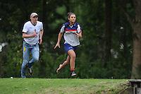 FIERLJEPPEN: GRIJPSKERK: Fierljepaccomodatie 'De Enk', 16-08-2014, ROC Friese Poort competitie 2014, Anje Bergsma, ©foto Martin de Jong