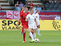 20190829 - LEUVEN , BELGIUM : England's Lucy Bronze (in the front) and Belgium's Tine De Caigny (at the back) are pictured during the female soccer game between the Belgian Red Flames and England, The Lionesses , a friendly womensoccer game in the preparation for the European Championship qualification round in group H for England 2021, Tuesday 29 th August 2019 at the King Power Stadion Den Dreef in Leuven , Belgium. PHOTO SPORTPIX.BE | SEVIL OKTEM