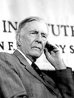 John Kenneth Galbraith, economist and author, speaking at the Arco Forum at the Institute of Politics at the John F. Kennedy School of Government at Harvard University Cambridge MA December 6, 1995