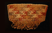 Frontispiece from a woman's apron made with yucca fiber and vegetal dyes, Basketmaker culture, 1500 BC - 500 AD,  courtesy of the University of Pennsylvania, in the Anasazi Heritage Center, an archaeological museum of Native American pueblo and hunter-gatherer cultures, Dolores, Colorado, USA. Picture by Manuel Cohen