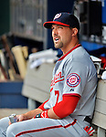 11 April 2012: Washington Nationals infielder Mark DeRosa sits in the dugout prior to a game against the New York Mets at Citi Field in Flushing, New York. The Nationals shut out the Mets 4-0 to take the rubber match of their 3-game series. Mandatory Credit: Ed Wolfstein Photo