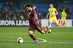Mohamed Salah of AS Roma kicks the ball during the match Villarreal CF vs AS Roma during their UEFA Europa League 2016-17 Round of 32 match at the Estadio de la Cerámica on 16 February 2017 in Villarreal, Spain. Photo by Maria Jose Segovia Carmona / Power Sport Images