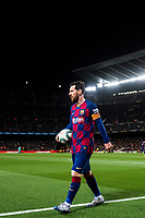 7th March 2020; Camp Nou, Barcelona, Catalonia, Spain; La Liga Football, Barcelona versus Real Sociedad; Lionel Messi of FC Barcelona comes over to take a corner kick late in the game