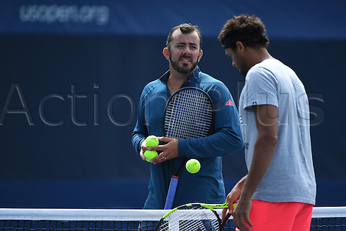 04.09.2016. Flushing Meadows, New York, USA. US Open 2016 Grand Slam tennis tournament.  Jo Wilfried Tsonga (FRA) and Thierry Ascione (FRA)
