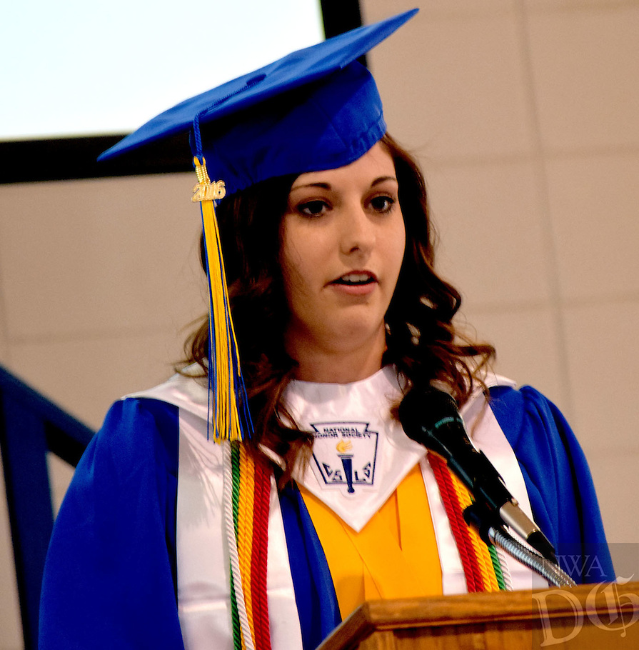 Photo by Mike Eckels<br /> <br /> Haley Burden delivers her Valedictorian address during the 2016 Decatur High School Commencement Ceremony at Peterson Gym in Decatur May 15