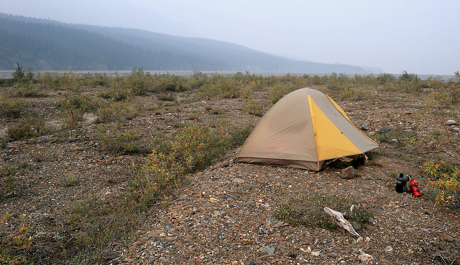 A backpacker's camp along the Toklat river on a smoky day in Denali National Park, Alaska.