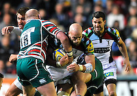 Leicester, England. George Robson of Harlequins tackled  during the Aviva Premiership match between Leicester Tigers and Harlequins at Welford Road on September 22, 2012 in Leicester, England.