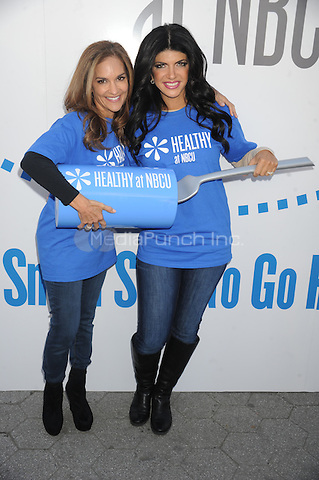 "Joy Bauer and Teresa Giuidice promote ""Healthy at NBCU"" initiative's third annual ""Healthy Week"" observance at Unions Square in New York City. October 11, 2012.. Credit: Dennis Van Tine/MediaPunch"