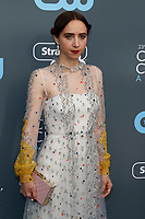 Zoe Kazan attends the 23rd Annual Critics' Choice Awards at Barker Hangar in Santa Monica, Los Angeles, USA, on 11 January 2018. Photo: Hubert Boesl - NO WIRE SERVICE - Photo: Hubert Boesl/dpa /MediaPunch ***FOR USA ONLY***